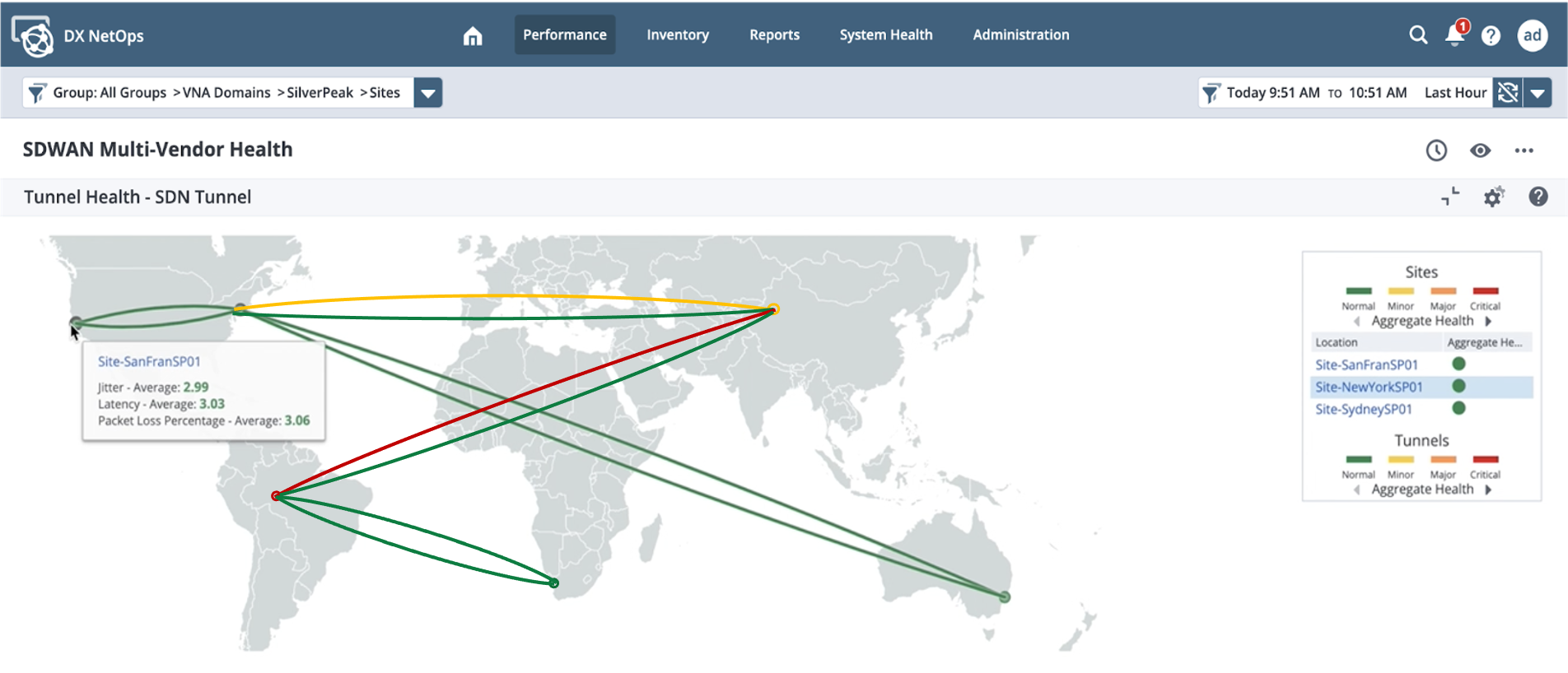 Interactive SD-WAN geo map delivers real-time WAN status and performance.