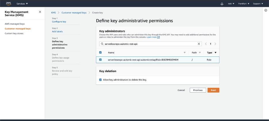 AWS Key Management Service - Define key administrative permissions