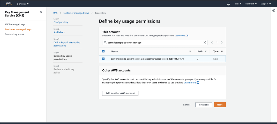 AWS Key Management Service - Define key usage permissions