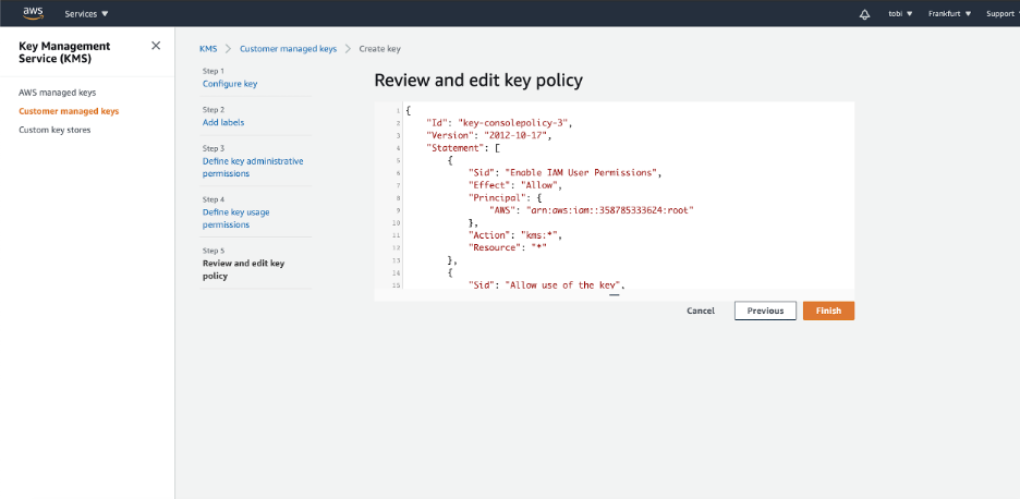 AWS Key Management Service - Review and edit key policy