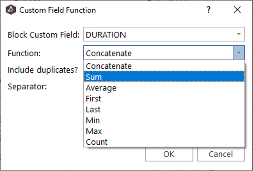 Create a Custom field named DURATION and use the Sum function to calculate the sum of the Block durations.